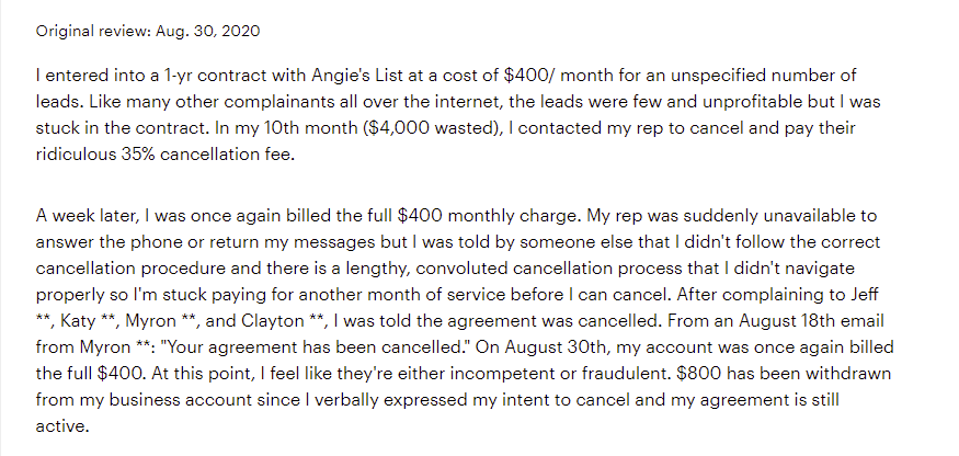 Cancelling Your AngiesList Account