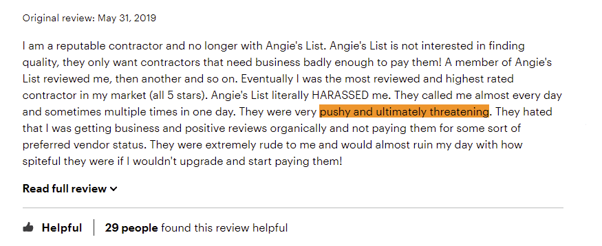 Pushy Angie'sList Sales Reps